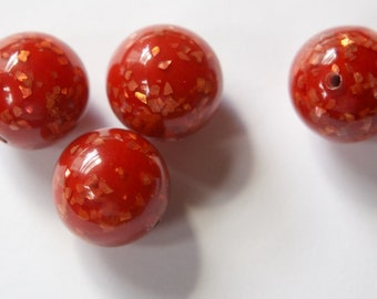 Vintage Lucite Brown Orange Beads with MOP Glitter Inclusions 18mm (4) bds832D