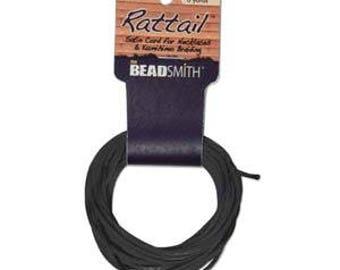 Rattail Satin Cord Black, 6 Yards each, 1mm Diameter