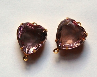 Light Amethyst Glass Heart Connector in 2 Loop Brass Setting 15mm hrt001K2