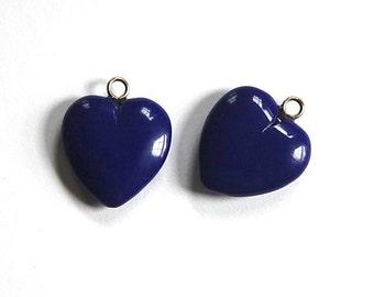 Vintage Navy Blue Glass Heart Pendants pnd084A