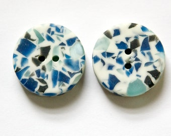 Vintage Blue and Cream B.G.E. Plastic Buttons 21mm LG (2) btn034D