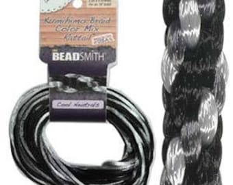 Kumihimo Rattail Color Mix Cool Neutrals, 4 Braids x 3 Yards each, 1mm Diameter