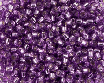 "Silver Lined Light Grape Toho Seed Bead (8g) 15/0 2.5"" Tube TR-15-2219/C"