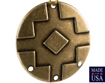 1 Hole Raw Brass Large Layered Deco Pendant 51x24mm mtl480A 4