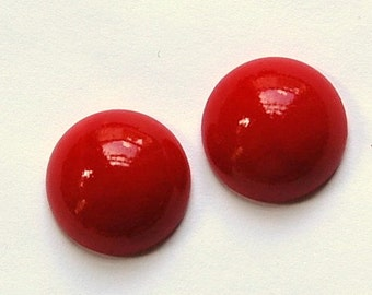 Vintage Opaque Red Domed Glass Cabochons 18mm cab706R