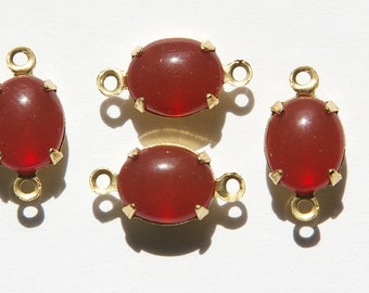 Vintage Carnelian Oval Stones in 2 Loop Brass Setting ovl005LL2