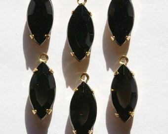Vintage Faceted Black Glass Navettes in 1 Loop Brass Setting nav001HH
