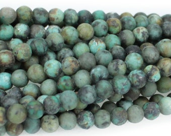 "Dakota Stones Matte African Turquoise 4mm Round Gemstones. 8"" Strand. ATQ4RD-M-8"