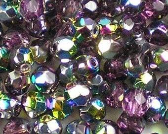 Czech Faceted Vitral Amethyst Firepolish Glass Beads 4mm (50) 1-04-V2