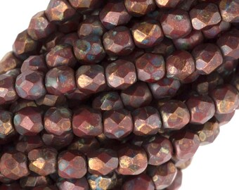 Czech Faceted Opaque Red Copper Picasso Firepolish Glass Beads 6mm (25)