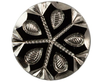 Black and Silver Snowflake Etched Czech Glass Cabochon 18mm (2) cab904C
