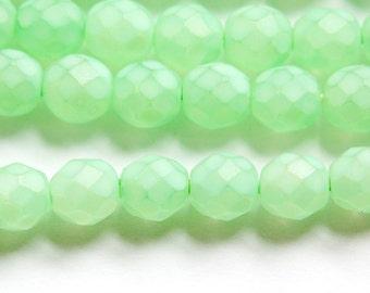 Czech Faceted Matte Mint Green Coated Glass Beads 8mm (25) czh002
