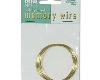 "Beadsmith Gold Plated Memory Wire 1 3/4"" Diameter, 12 Loop"