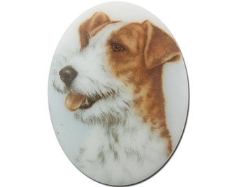 Vintage Glass Terrier Dog Cameo Cabochon 40x30mm (1) cab386E