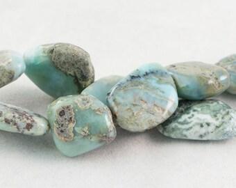"Dakota Stones Larimar Flat 16-22mm Flat Nugget Beads Gemstones. 8"" Strand. LRM16-22NUG-8"