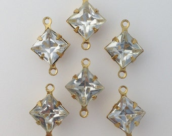 Vintage Clear Square Glass Stones in 2 Loop Brass Setting 8mm (6) squ002XX2