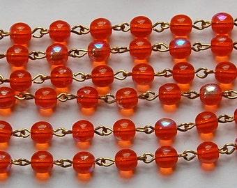 Hyacinth Orange AB Czech Glass Bead Chain Raw Brass Links chn119