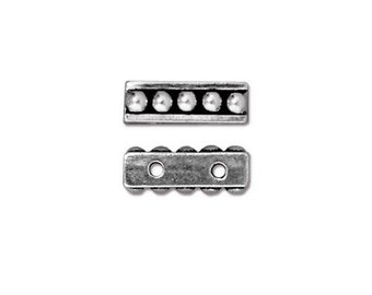 TierraCast 2 Hole Beaded Spacer Bar Antiqued Silver Plated Pewter (4) TC94-5550-12