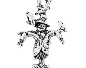 Antique Silver Scarecrow Charm Drop with Loop 25x15mm (6) ymc094A