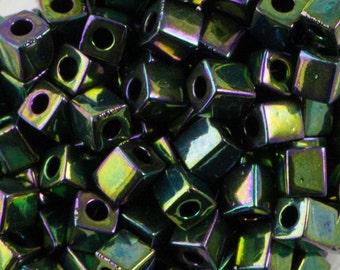 Metallic Teal Iris Miyuki Cube Seed Bead 4mm 20gm Tube SB4-465-TB