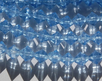 Vintage Blue Glass Bicone Beads 8mm bds227A