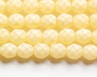 Czech Faceted Matte Jonquil Coated Glass Beads 8mm (25) czh002F