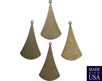 1 Loop Brass Ox Long Flat Rounded Pendant Drops 33x19mm (6) mtl060E