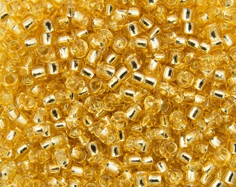 "Silver Lined Light Topaz Toho Seed Bead (8g) 15/0 2.5"" Tube TR-15-22/C"