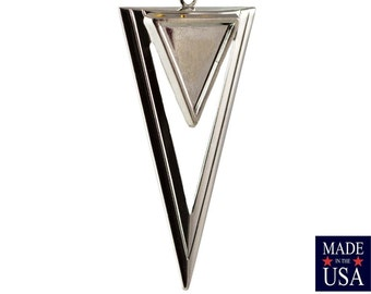 1 Loop Silver Plated Open Double Triangle Hoop Pendant with Loop (4) mtl420D