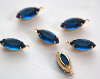 Capri Blue Navette Stones in 1 Loop Brass Settings nav002H