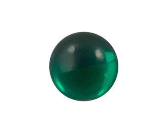 Transparent Emerald Foiled Glass Round Cabochons 11mm (6) cab2005B