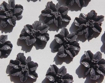 Vintage Style Grey Black Lily Blossom Cabochon cab353C