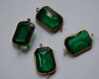 2 Loop Brass Channel Set Faceted Green Acrylic Charms chr164