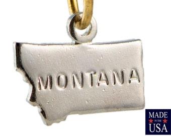 Shiny Silver Tiny Montana State Charm Drops 11x9mm (2) chr225UU