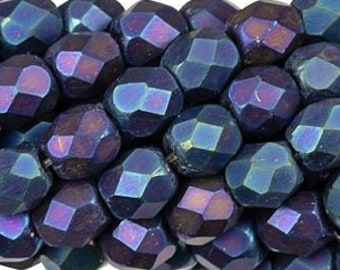 Czech Faceted Matte Iris Blue Firepolish Glass Beads 6mm (25)