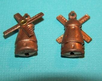 Vintage Copper Dutch Windmill Charms (4) chr103B