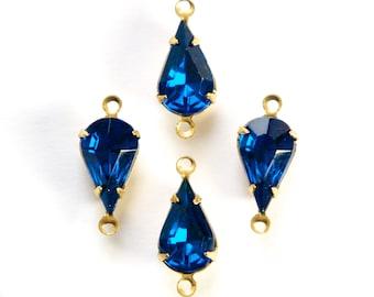 Vintage Capri Blue Glass Teardrop Stone 2 Loop Brass Setting par003AM2