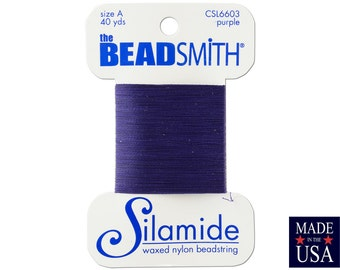 Purple Silamide Waxed Nylon Beadstring Size A (40 Yards) CSL6603