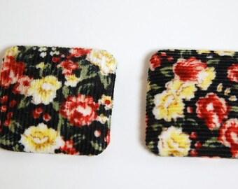 Vintage Large Black Floral Corduroy Button or Cabochon Squares cab427D