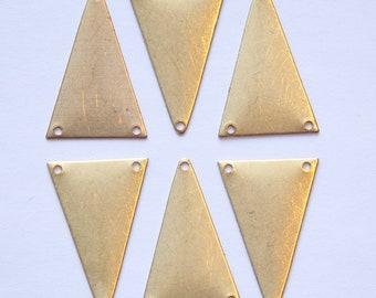 3 Hole Raw Brass Geometric Narrow Triangle Pendant Charm (6) mtl511A
