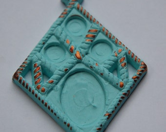 Vintage Diamond Copper with Turquoise Pendant Setting pnd041