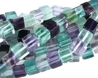 "Dakota Stones Banded Fluorite 6mm Cube Gemstones. 8"" Strand. FLU6CUB-8"