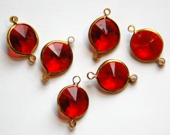 Vintage Ruby Red Acrylic Rivoli Channel Set  2 Loop Drops chr158