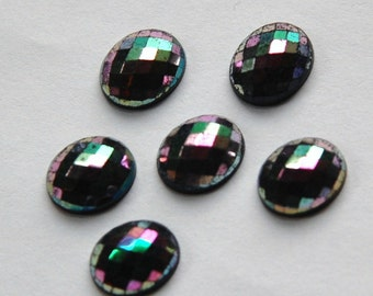 Vintage Black Faceted Glass Cabochons Iridescent Finish cab576T