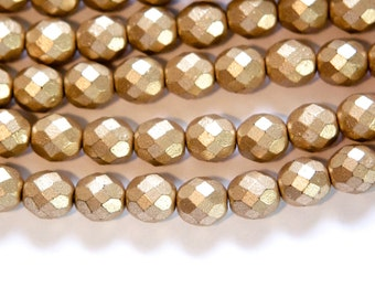 Czech Opaque Matte Gold Faceted Glass Beads 8mm (25) czh001N
