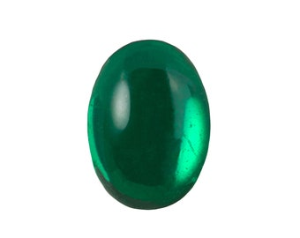 Transparent Emerald Foiled Glass Oval Cabochons 25x18mm (1) cab4006B