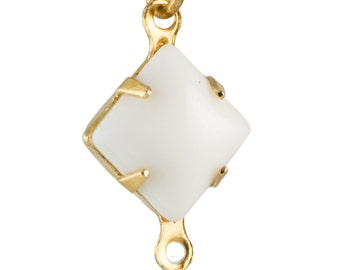 Opaque White Square Glass Stones in 2 Loop Brass Setting 8mm (6) squ002AA2