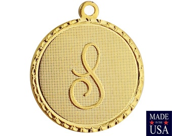 Gold Plated Letter S Initial Charm Drop with Loop (1) chr215S