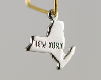 Shiny Silver Plated Tiny New York State Charm Drops (6) chr224C