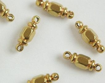 2 Loop Solid Raw Brass Octagon Beads Connectors (6) mtl389B